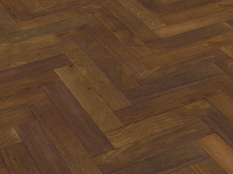 Oak Double Smoked & Brushed Herringbone 90